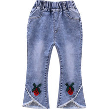 New Japanese Toddler Girl Jeans Elastic Waist Embroidery Strawberry Cute Denim Capris Preppy Style Trousers 1 to 7 Y