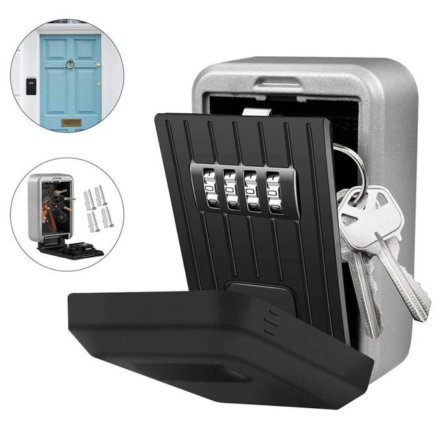 Porta chaves de parede, cofre para chaves, armazenamento, caixa de chaves, trava de armazenamento, com combinação de 4 dígitos, capa à prova d água para uso externo usar