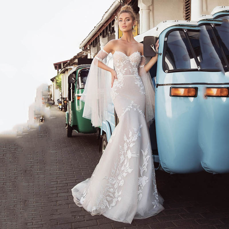 Smileven Mermaid Wedding Dress Strapless Lorie 2020 Lace Appliques Detachable Sleeves Boho Bridal Gowns Wedding Gowns