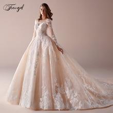 Свадебное платье с длинным рукавом, роскошное кружевное бальное платье с аппликацией и бисером, платье невесты с соборным шлейфом размера плюс