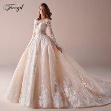 Свадебное платье с длинным рукавом роскошное кружевное бальное