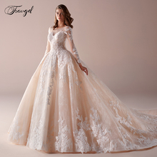 Traugel Luxury Scoop Ball Gown Lace Wedding Dress Applique Beading Long Sleeve Bride Dress Cathedral Train Bride Gown Plus Size