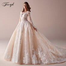 Traugel lüks Scoop balo dantel düğün elbisesi aplike boncuk uzun kollu gelinlik katedrali tren gelin kıyafeti artı boyutu