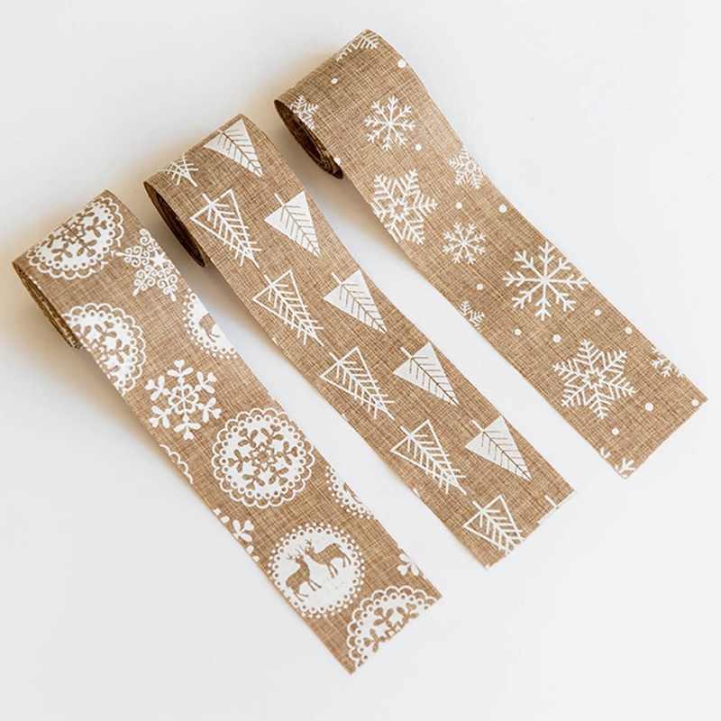 5*200 سنتيمتر عيد الميلاد الخيش الشريط القوس زينة عيد الميلاد شجرة ندفة الثلج الغزلان الشريط شجرة عيد الميلاد الديكور 1 قطعة