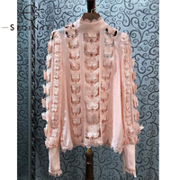 SEQINYY Women Blouse 2020 Summer Spring New Fashion Design Long Sleeve Luxury Butterfly Lace Hollow out Sweet Top