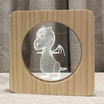 3D Wooden Fire dragon Footprints Shadow LED Wood USB Desk Night Light Christianity Crucifix Crafts Table Lamps Home Decoration