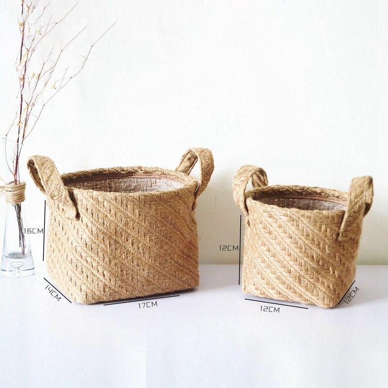 Household DIY Handmade Woven Storage Baskets Flower Pot Jute Cloth Sundries Holder Underwear Toy Container Storage Basket