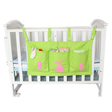 2018 Baby Bed Hanging Storage Bag Cotton Newborn Crib Organizer Toy Diaper Pocket Bedding Set Accessories 4 Colors(China)