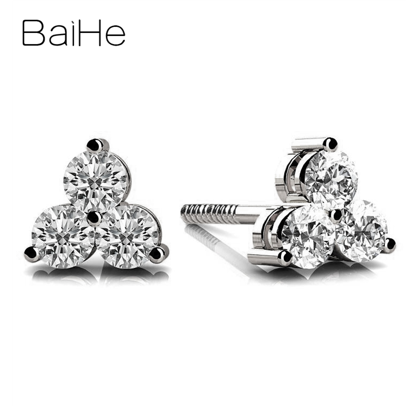 BAIHE solide 18K or blanc Total 0.18ct/0.30CT/0.60CT H/SI rond diamants naturels femmes homme mariage mode cadeau boucles d'oreilles