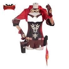 Cosplay-Costume Full-Set Women Halloween Red Uniform Top-Pant Anime Impact-Amber Genshin