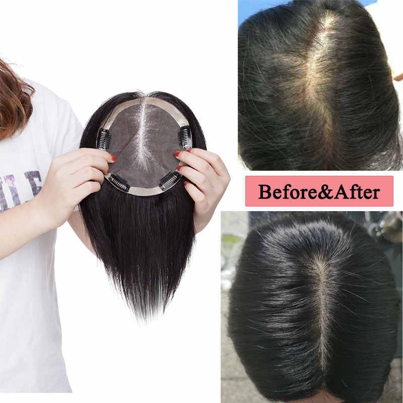 סגו 15x15cm רמי שיער טבעי Toppers עבור נשים מונו & משי בסיס צפיפות 140% קליפ בתוספות שיער למעלה פאה 45 גרם\יחידה