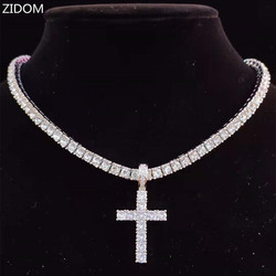 Men Women Hip Hop Cross Pendant Necklace with 4mm Zircon Tennis Chain Iced out Bling Necklaces HipHop Jewelry Fashion Gift