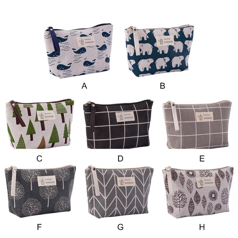 Multifunctional Fashion Design Durable Fabric Zipper Purse Cartoon Pattern Cosmetic Storage Bag Changes Card Bag