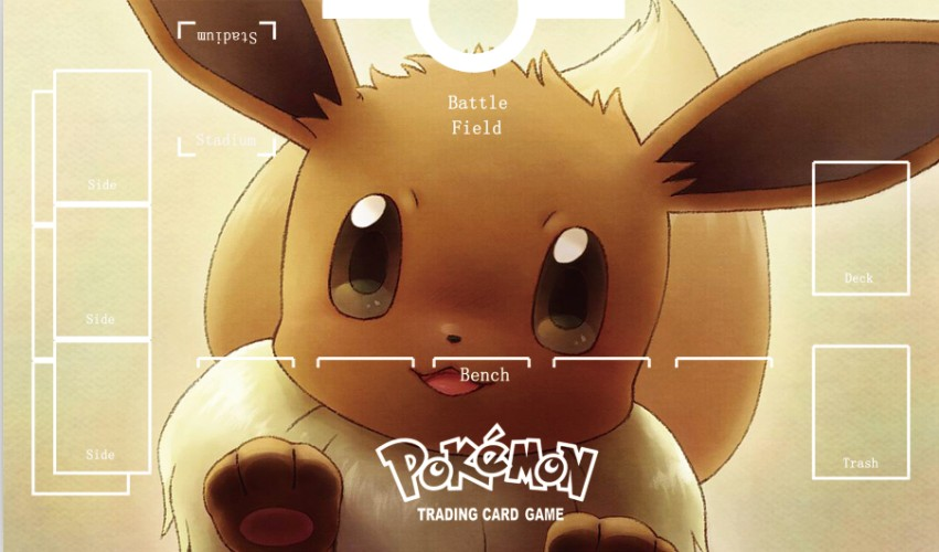 Takara Tomy PTCG Accessories Pokemon Card Game Table Playmat Cute Eevee Toys For Children