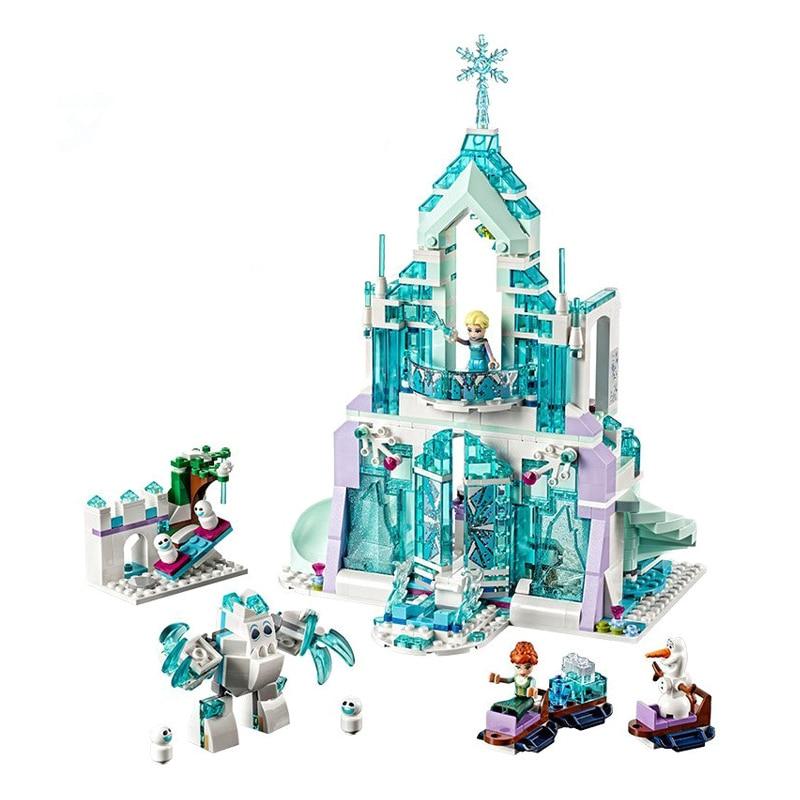 Conjunto de castelo mágico da elsa, conjunto de blocos de construção de tijolos de brinquedo da menina, compatível com 41148
