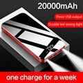 Портативное зарядное устройство 20000 мАч  внешний аккумулятор 3 USB для Xiaomi iPhone 11 pro Samsung с фонариком