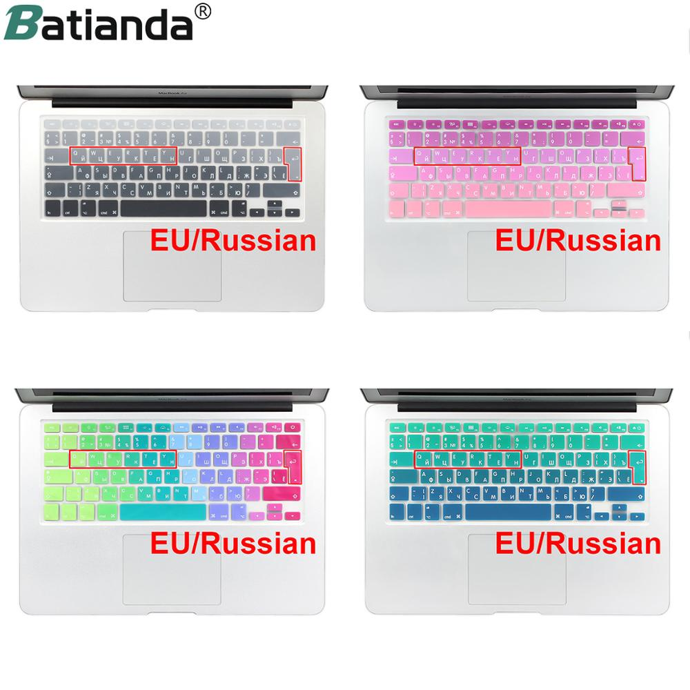 EU/UK layout Gradient Colors Spain Russia <font><b>Keyboard</b></font> Cover Silicone <font><b>Sticker</b></font> Skin for MacBook Pro 13