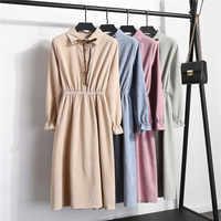 Autumn Winter Women Corduroy Dress Solid Vestidos Mujer Vintage Casual Single-breasted Stand Collar Long Sleeves A-line Dresses