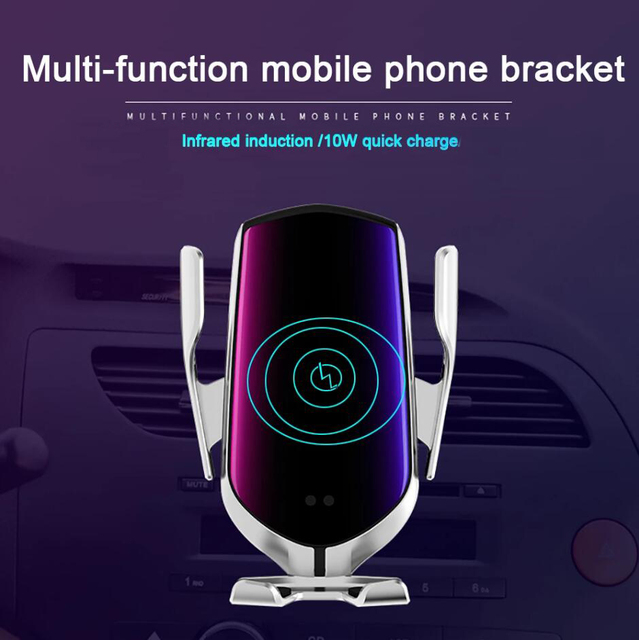 R1 Automatic Clamping 10W Wireless Car Charger For iPhone X Xs Huawei LG Infrared Induction Qi Wireless Charger Car Phone Holder 2
