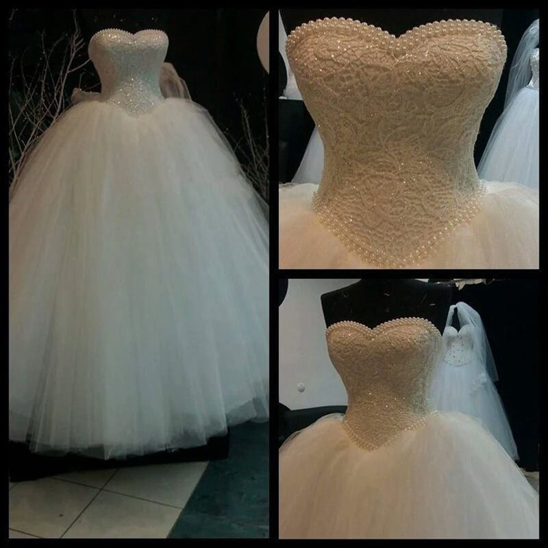 Luxury White Long Bridal Free Petticoat Ball Gown Heavy Pearls Beading Lace Sweetheart Floor Length Mother Of The Bride Dresses
