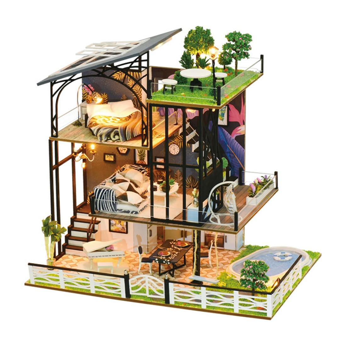 Three-Story Villa Kits DIY Wooden Miniature Dollhouse Handmade Doll House Model Gift For New Year Birthday