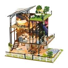 Three-Story Villa Kits DIY Wooden Miniature Dollhouse Handmade Doll House Model Gift For New Year Birthday diy puzzle assembled villa provence cottage child handmade dollhouse model set combination boy girl birthday gift wj1010 ingbaby