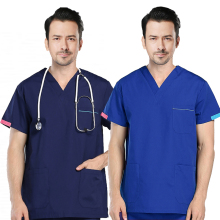 Men's Scrubs Top Color Blocking Design V-neck Short Sleeve Top Pure Cotton Medical Uniforms Summer Doctor Workwear(Just A Top)
