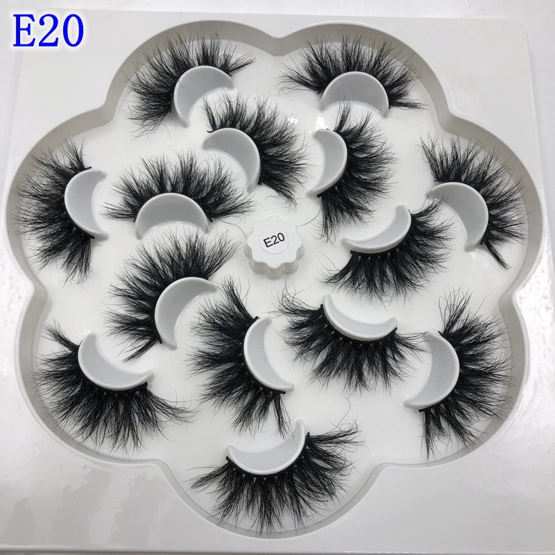 Mikiwi 25mm Lashes 7 Styles In One Tray 3d Mink Eyelashes Big Dramatic Volumn 25mm 7 Pairs Per Pack Strip False Eyelash