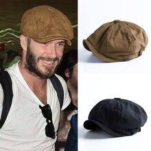 Gorro de algodón estilo británico para hombre, gorra plana octogonal, Beckham, color caqui, Vintage, para primavera y verano