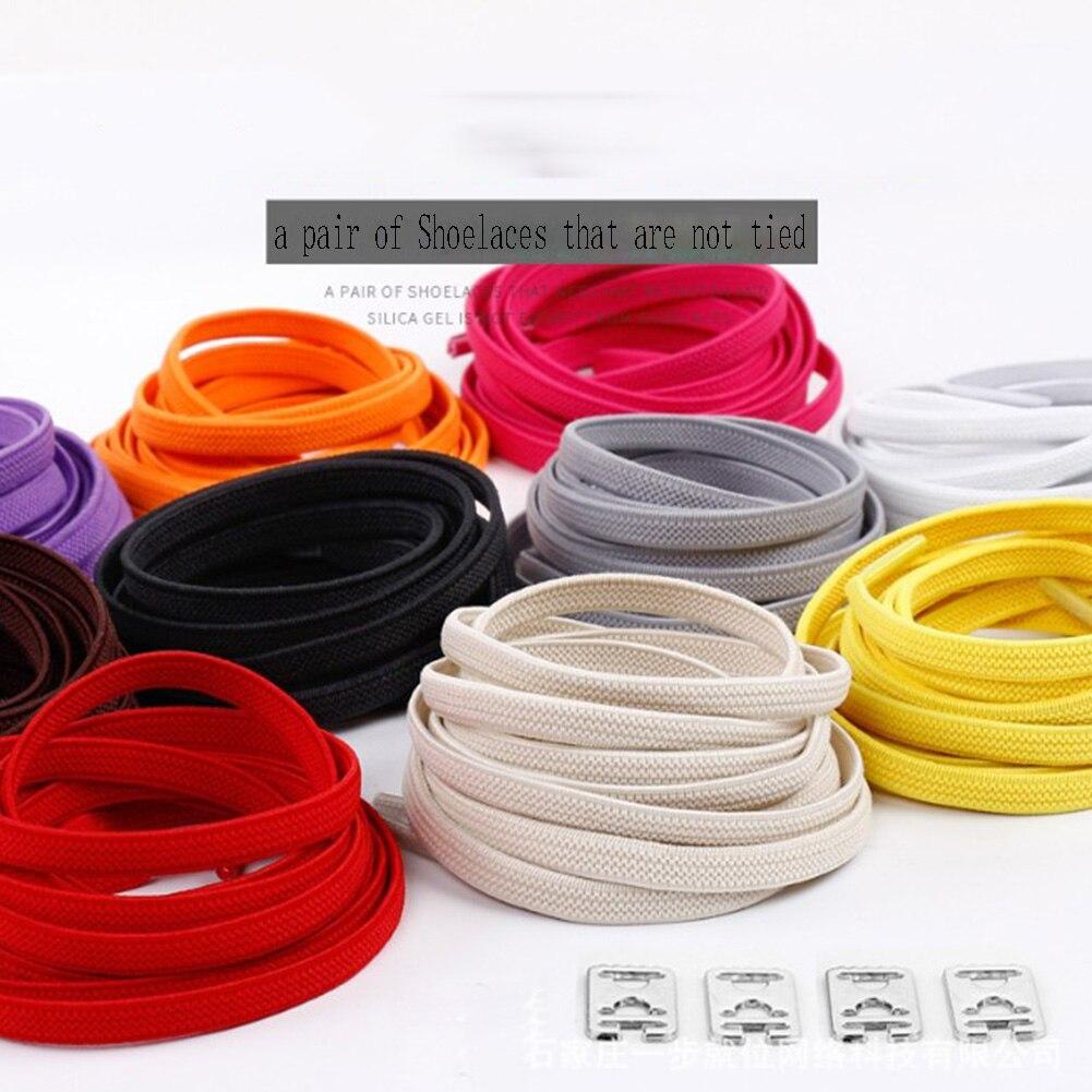 1pair No Tie Lazy Shoelaces Simple Safe Elastic Shoelaces Easy Buckle Shoe Laces Colorful Flat Shoelaces Shoe Accessories Unisex