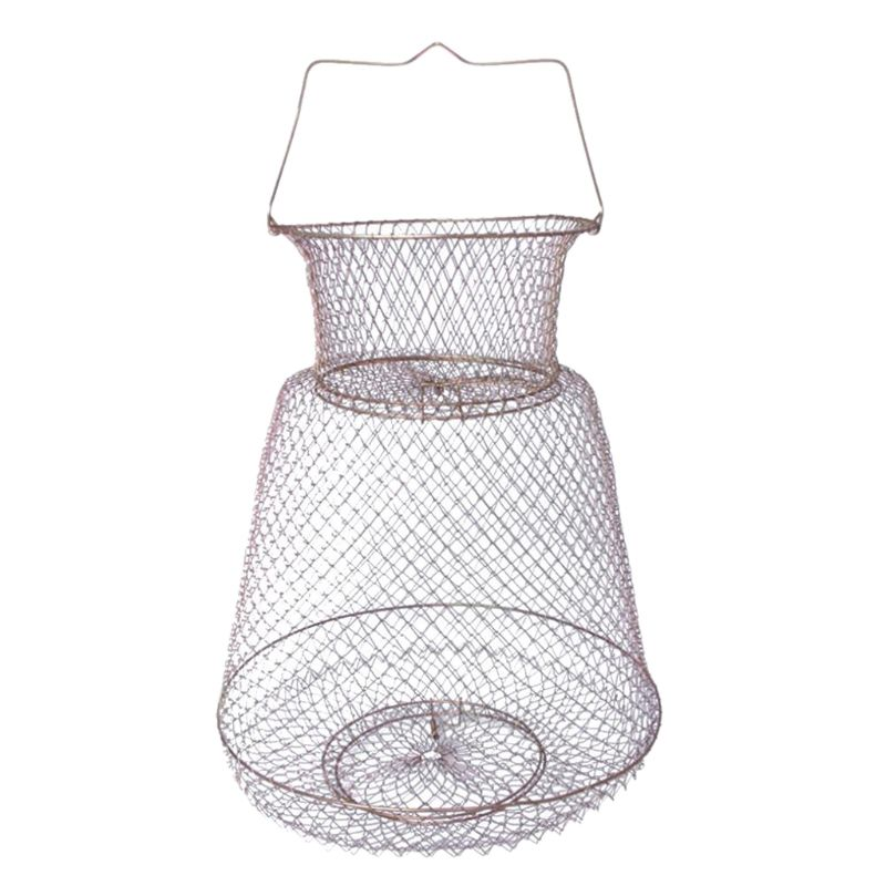 1pc Foldable Steel Wire Fishing Cage Fish Crab Squid Shrimp Trap Spring Door Portable Fish Basket Net Fishing Pot