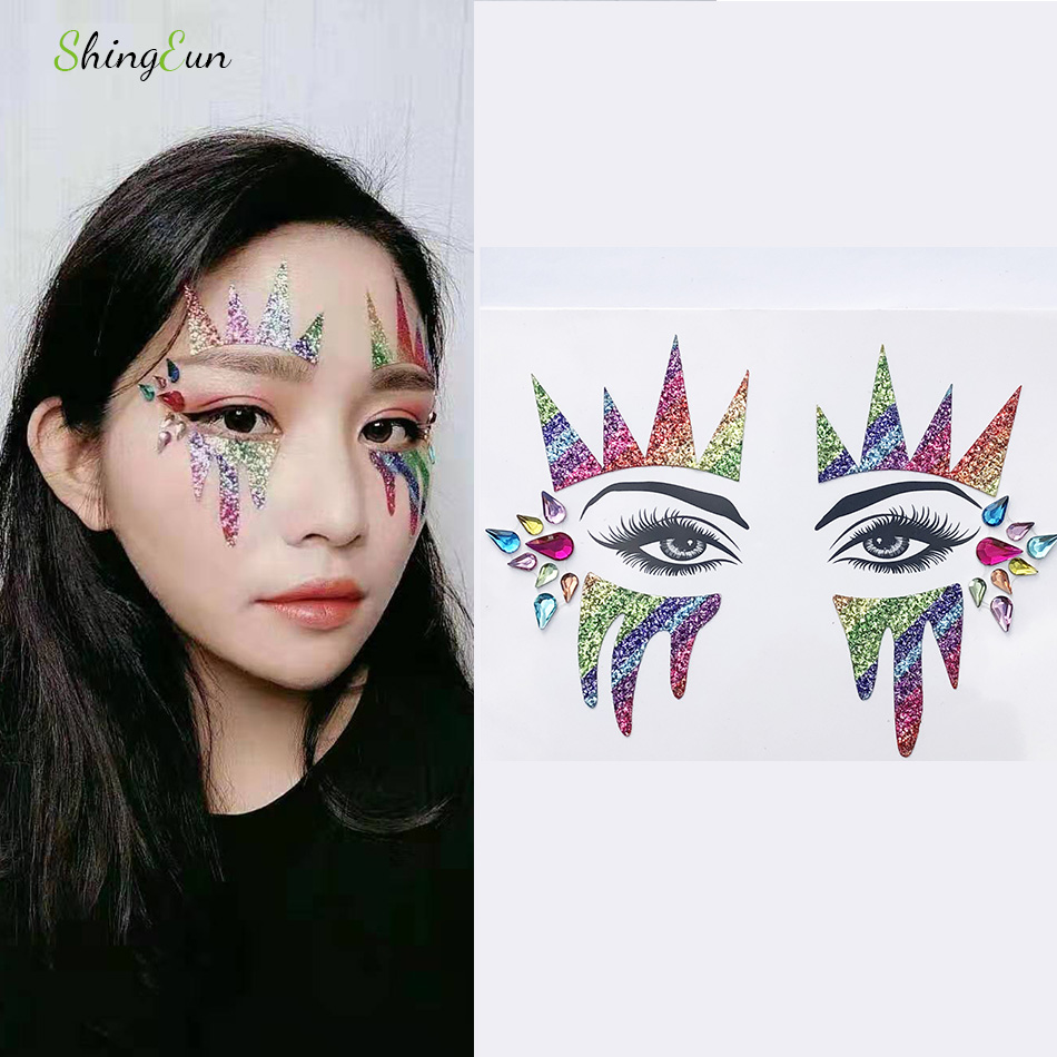 Halloween Music Festival Makeup Tattoo Stickers Temporary Crystal Flash Gems Waterproof  Face Eye Drill Eyebrow Tattoo Stickers
