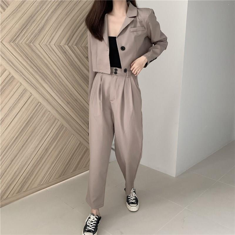 Turn-Down Collar Short Coat High Waist Pants Blazer Set Women Sexy Solid Work Suits Notched Two Piece Suits Outfits