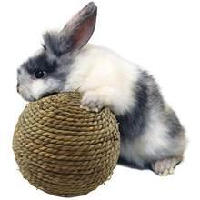 1pc coelho pequeno animal de estimação mastigar brinquedo limpo dentes bola grama natural pequeno animal estimação perfeito molar ferramenta
