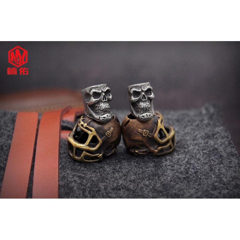 1PC rétro Bronze tibétain argent Rugby chapeau casquette de Football crâne EDC Paracord perles parapluie corde cordon lanière pendentifs couteau perles - 5