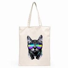 Забавная женская сумка для покупок с принтом dj cat хит продаж