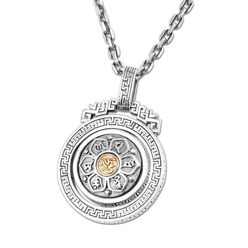 Thai argent Seiko accessoires personnalisé bouddha S925 bijoux hommes six caractères mantra collier pendentif