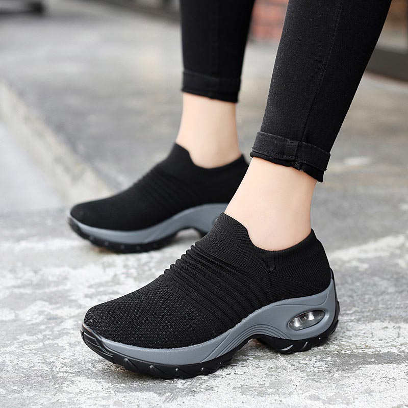 Large Size Air Cushion Women's Platform Sneakers Women Running Shoes Sports Sneakers Sock Black Basket Sport Shoes Workout A-394