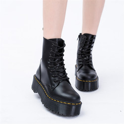 Size 34-41 Chunky Motorcycle Boots For Women Autumn 2019 Fashion Fashion Boots Round Toe Lace-up Combat Boots Ladies Shoes
