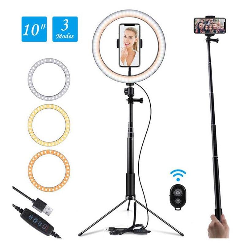 Светодиодный селфи кольцо светильник фотографии светильник ing кольцевая лампа Bluetooth с регулируемой яркостью со штативом для Youtube мобильног...