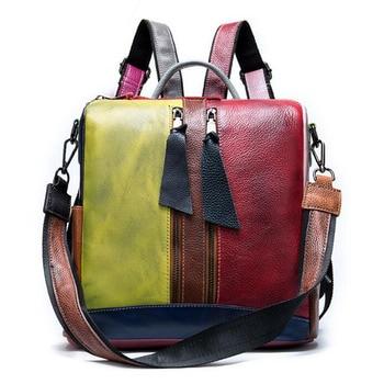 backpack women genuine leather convertible backpacks female women's leather backpack school bag Travel for feminina Daypack