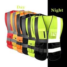 Hallo Sichtbarkeit Sicherheit Weste Mit Reflektierende Streifen Und Zipper Taschen Bau Arbeit Uniform Wertpapiere Kleidung ANSI Klasse 2