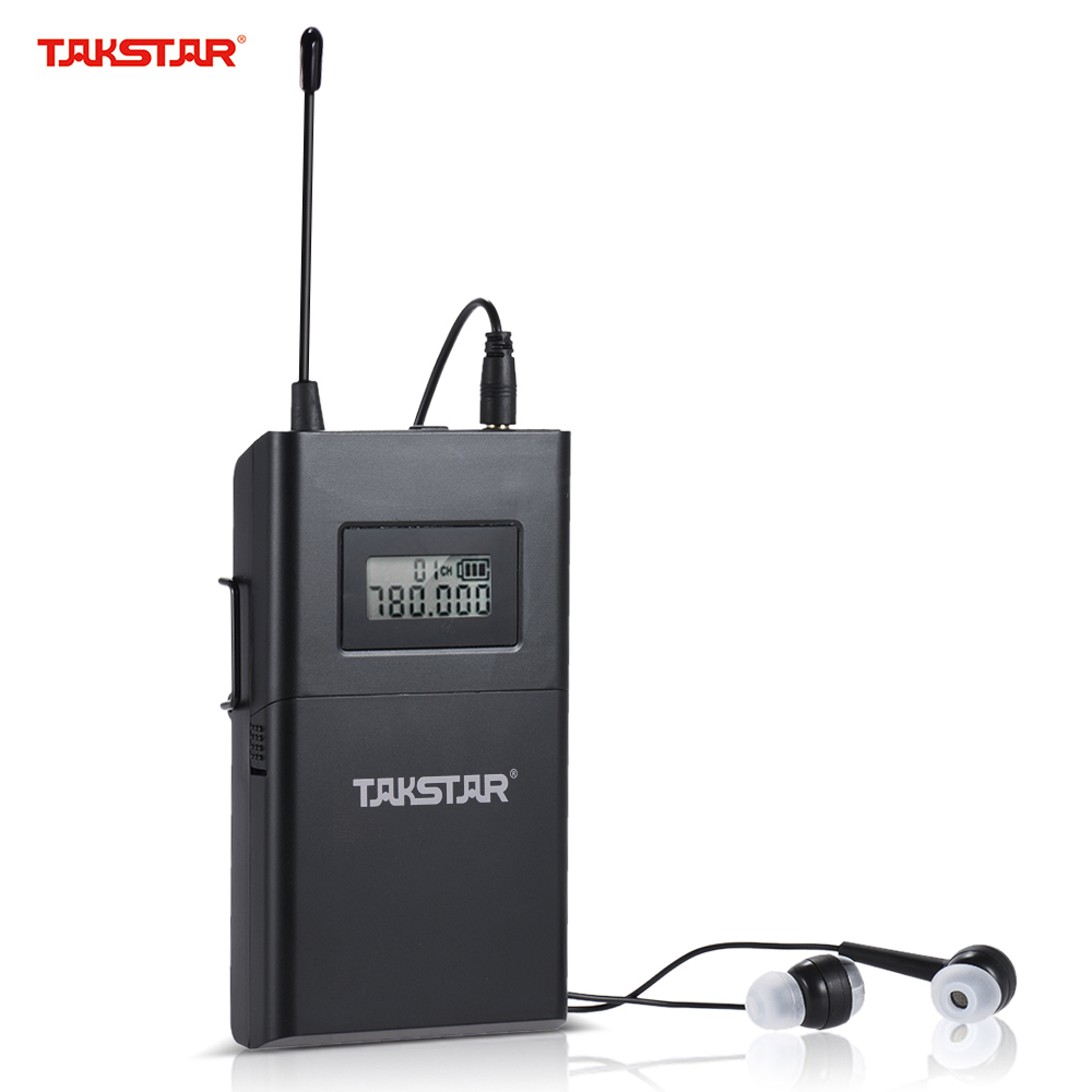 Takstar WPM-200 UHF Wireless Audio System Receiver LCD Display 6 Selectable Channels 50m Transmission With In-Ear Headphones