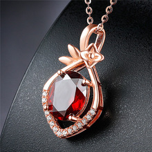 Charm Female Red Crystal Pendant Necklace Trendy Rose Gold Chain Necklaces For Women Elegant Bridal Oval Wedding Necklace stylish rhinestoned fake crystal oval necklace for women