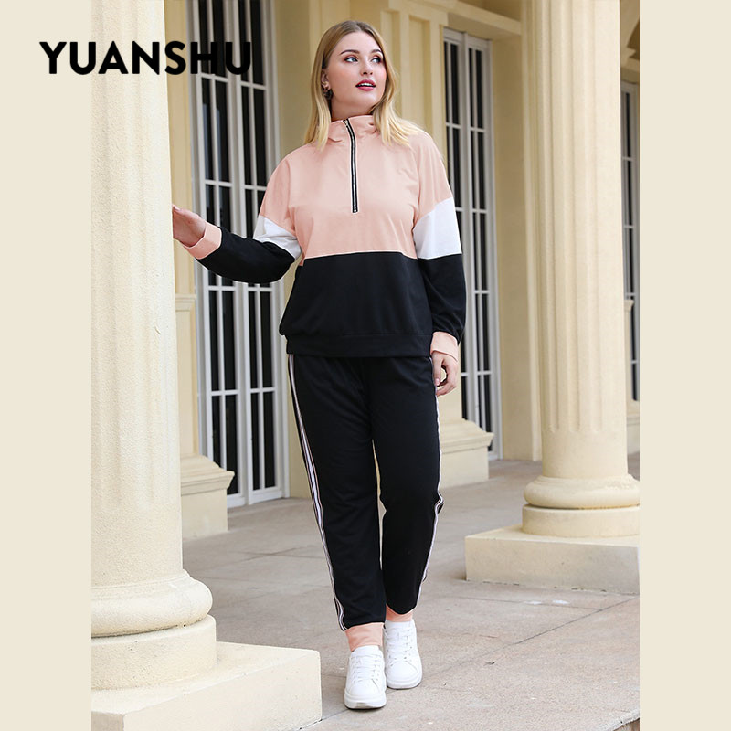 YUANSHU Casual Plus Size Two Piece Set Women Patchwork Zipper Stand-up Collar Tops Elastic Waist Trousers XL-4XL Large Size Set