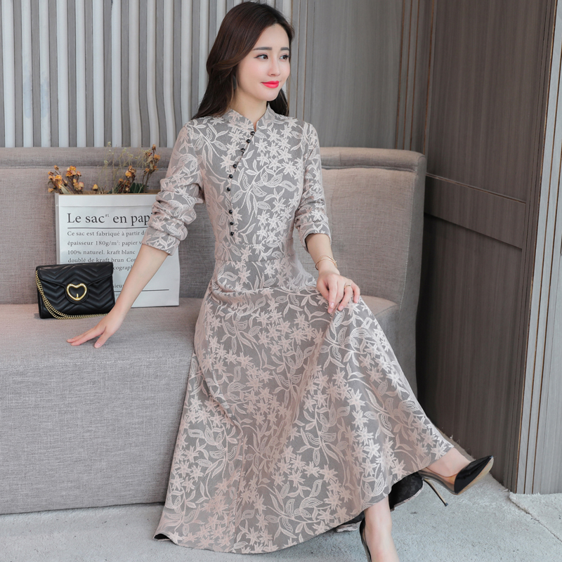 2020 Aodai Chinese Style Oriental Cheongsam Women Lace Floral Embroidery Full Length Improved Qipao Female Elegant Vestidos