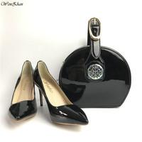 Fashion Black High Heel Shoes And Women HandBags To Match In Women Slip on Pumps With Handbags Sac Set Good Quality 36 43 A9 3