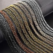 10pcs Bronze Chains DIY Necklace Iron Chain  Lobster Clasp Gold Silver Color Jewelry Making Findings 55cm