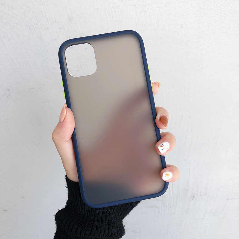Case untuk iPhone 11Pro X XR X Max 6 6S 7 7 Plus Mewah Permen Warna Kulit Lembut tepi Scrub Back Cover Capa