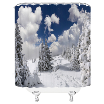 Winter Snow Tree Shower Curtains Decoration Waterproof Fabric Natural Scenery Bath Curtain Bathroom Door large 240X180 Screen image